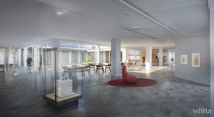 I en tillbyggnad på museet ska det bli nya utställningslokaler. Skiss: White arkitekter