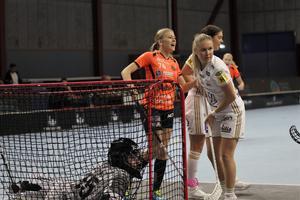 Lisa Söderlund jublar efter sin 1-2 reducering i den första perioden. Men trots målet blev det aldrig någon spänning i matchen.