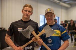Emil Hansson (till vänster) är med i det svenska andralaget i NM, Ferry Svan (till höger) har fått ta klivet upp i förstalaget. Foto: STIHL Timbersports