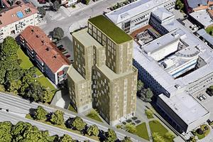 Vi behöver definitivt inte ett 14-våningars hotellkomplex på den trånga, inklämda markplätten, inträngt vid en bostadsfastighet och alldeles intill en trafikled med tusentals fordon per dygn, anser Hans Björkvall.Skiss: White arkitekter