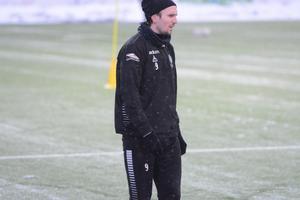 IK Brage blev tvungen att kliva av torsdagens träning efter bara tio minuter. Här en bild på Marcus Astvald vid en träning tidigare i januari.