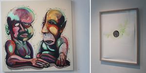 Mark Frygell ligger bakom bilden till vänster, till höger ser vi Magdolna Szabós akvareller.