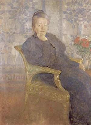 Carl Larssons porträtt av Selma Lagerlöf från 1908.