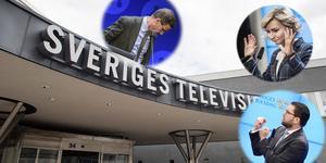 Simon Ridell har ordnat med en skiss på hur en SVT-tablå skulle se ut om högern själva fick välja. Foto: Jessica Gow/TT