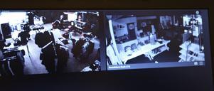 Bilder från övervakningsfilmerna på Kläddax som nu är värdefullt material för polisen i sitt utredningsarbete.