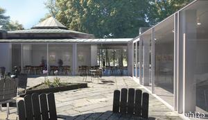 Så här tänker man sig atriumgården på länsmuseet ska se ut efter renoveringen. Sommartid ska kaféet ha uteservering där. Skiss: White arkitekter