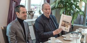 Daniel Adborn (L) och Harry Bouveng (M) presenterar den borgerliga alliansens förslag till budget för Nynäshamn kommun. Ett beslut om budgeten fattas av kommunfullmäktige den 5 december.