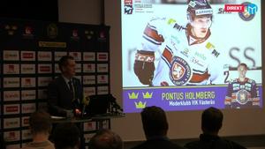 Pontus Holmberg är uttagen i Tomas Monténs JVM-trupp. Foto: VLT/Hockeypuls