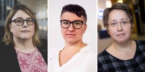 ÖrnsköldsviksAlliansens gruppledare Anna-Lena Lindberg (C),  Hanna Sydhage (KD) och Annica Jonsson (M).
