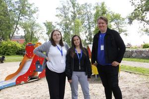 Jennifer Eriksson, Tilly Jensen och Jakob Angbäck lovar att det kommer att bli massor av kul i Pinnparken på Barnfestivalen.