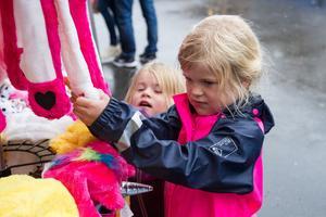 Alva och Wilma Svahn besökte marknaden tillsammans med pappa Magnus Westberg – och  hade köpt tröjor med hästar och enhörningar.