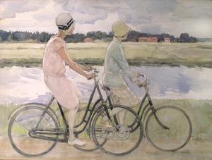 Två kvinnor cyklar längs Kolbäcksån. Målning av Elsa Celsing.