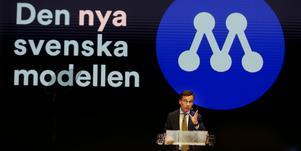 Moderaternas partiledare Ulf Kristersson under partiets Sverigemöte i Karlstad, där en ny logga presenterades. Bild: Linn Malmén/TT