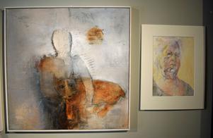 """""""Buren och älskad"""" av Ingmarie Utby och """"Porträtt"""" av Siv Åsenlund."""