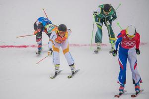 Lisa Andersson (tvåa från vänster) åkte in som tvåa i den lilla finalen och slutade sexa i sitt första OS. Bild: Joel Marklund/Bildbyrån