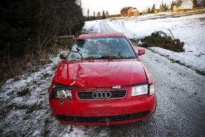 På en mindre väg i trakten av Alsens kyrkby hade en bilist kört in i ett nedfallet träd. Bilen stod kvar med trasig vindruta på fredagen.