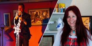 Jacob Trollkarl trollade på kaféet i Gamla Järnboa i Kilafors som Stina Johansson driver tillsammans med Zarina Dzhumaeva.