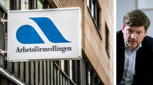 Arbetsförmedlingen står inför en kraftig neddragning av antalet tjänster men Martin Ådahl, Centerpartiets ekonomiske talesperson, säger att det har aldrig varit hans eller Centerns mening att det inte skall finnas arbetsförmedlingskontor i landets alla kommuner. Bilden är ett montage.