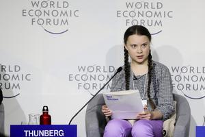 Greta Thunberg talade vid World Economic Forum i schweiziska Davos i vintras. Foto: Markus Schreiber/AP Photo