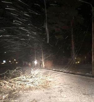 Elledning som blåst ned vid Drottningdals skola, fotograferad klockan två under natten till onsdagen. Foto: Monica Holmström