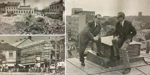 Översta bilden till vänster är det färdigrivet i hörnet Köpmangatan/Stora gatan och är klart för ny fastighet. Bilden under är 1963 och huset är under uppbyggnad. Till höger sitter ingenjör Harry Carlsson, tv, och ingenjör Malte Ekander från Thules fastighetsavdelning, för en sista överläggning på taket till den nya fastigheten.