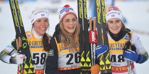 Charlotte Kalla, Therese Johaug och Ebba Andersson tog pallplatserna i Lillehammer.