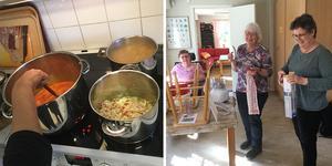Lilian Larsson och Karin Helmher var med under klimatdagen och lagade smart mat.