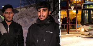 Två män döms för att ha misshandlat Hamed Noori på Navet i Sundsvall. Däremot frias de från att ha hotat Heydar Tajik. Bilder: Annelie Ledin och Mårten Englin