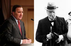 Sveriges nuvarande statsminister Stefan Löfven och Storbritanniens förutvarande premiärminister Winston Churchill.