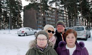 Inga Andersson, Lisbeth Henriksson, Ulla Harju och Annika Gottberg bor på Hammarby och protesterar mot den planerade förtätningen av området.