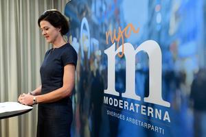 Anna Kinberg Batra meddelar i augusti 2017 att hon avgår som partiledare för Moderaterna.  Bild: Fredrik Sandberg/TT