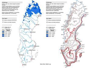 Så här ser snöläget ut i Sverige i nuläget. Till höger ser ni datum för normal ankomst av vintern.