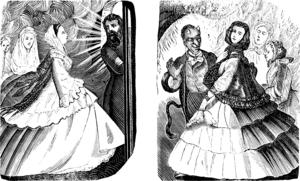 Dansk skämtteckning av Hr. Sørensen från 1862. I himlen är porten för trång för att damerna ska komma igenom med sina krinoliner  (vida underkjolar) och i helvetet är de inte välkomna för där finns det inte plats för fler krinoliner.