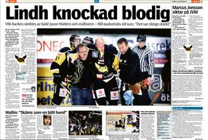 16 oktober 2010. Andreas Lindh knockas blodig i ABB Arena när han och lagkamrat Jason Walters krockar bakom egen målbur. VLT-arkiv.