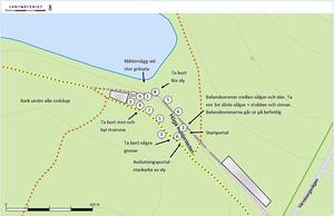 Kartan visar placeringen av de olika aktiviteterna i den nya motorikbanan vid Hörnsjön i Ö-vik. Bild: Örnsköldsviks kommun