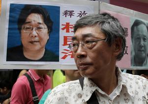 Bokförsäljare Lam Wing-kee  medverkade i protesterna för sin kollega Gui Minhais frigivning i Hong Kong.