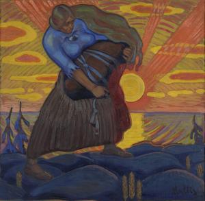 Kalevipoeg är son till jättedrottningen Linda. Målning av Oskar Kallis från 1917.