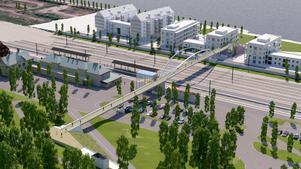 Planen är att bron ska anslutas på Österängsparken, gå över Ringvägen och bangården till bostadsområdet Storsjö strand.Illustration: Ramböll