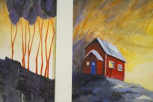 Eva Friskman med sina hus i rött. Två tavlor, här beskurna.