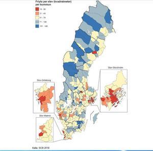 Ånge, Timrå och Sollefteå är de kommuner i Västernorrland som erbjuder skolbarnen största skolgårdarna och möjlighet till att röra sig fritt. Illustration: Boverket