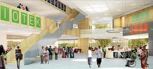 Kulturkvarterets foajé med infodesk i centrum, bibliotekt till vänster och restaurang och multiscen till höger.  Illustration: Wingårdh arkitektbyrå.