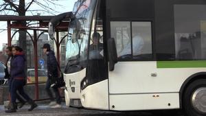 Ingrid tackar bussiga chaufförer som välkomnar passagerarna. Arkivbild