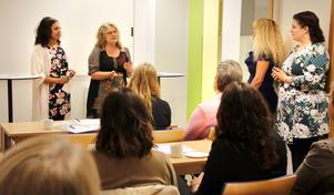 Erica Färkegård från Hela människan i Heby och Sickan Palm från Strömsbacka återvinningsvaruhus i Sala berättar om hur deras sociala verksamheter är hjälpta av Arbetsförmedlingen.