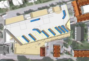 Den nya bussterminalen blir överdäckad och får 15 dockningsstationer för bussar. Infarten sker från Baldersgatan. Terminalen läggs i markplan och ovanpå byggs bostäder.Skiss: AG arkitekter