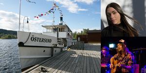 S/S Östersund ligger vid brygga i Östersunds hamn. Nadja Evelina och trion Bodal är några av artisterna som ska uppträda på båten.