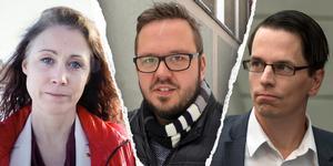 Nina Burchardt (S) får lämna sina uppdrag på grund av hennes relation med Johnny Skalin (till höger). Det är funktionen, inte personen som gör att hon inte kan sitta kvar som ordförande, förklarar S-ledamoten Henrik Persson (mitten).
