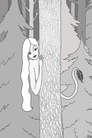 Ett skogsrå kikar fram bakom trädet. Illustration av Sabina Nilsson.