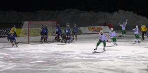 Siriusspelarna menade att 2–5-målet gick in genom ett hål i gavlen. Hammarby vann till slut med 3–9. Foto: Mittmedia.