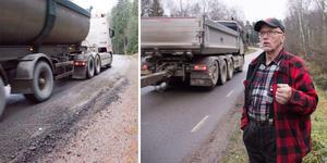 Harald Holmsten befarar att Laggarbovägen kommer att skadas av den täta och tunga lastbilstrafiken.