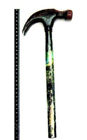 Hammaren som hittades på sjöbotten, nära Tova Mobergs livlösa kropp, misstänks vara mordvapnet. En av dykarnas bedömning är att hammaren inte legat i vattnet särskilt länge. Foto: Polisens förundersökning